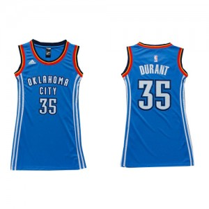 Oklahoma City Thunder Adidas Dress Azul real Swingman Camiseta de la NBA - Kevin Durant #35 - Mujer
