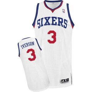 Camiseta NBA Home Philadelphia 76ers Blanco Authentic - Hombre - #3 Allen Iverson