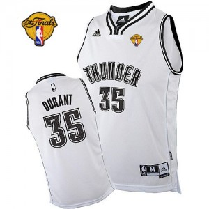 Hombre Camiseta Kevin Durant #35 Oklahoma City Thunder Adidas Finals Patch Blanco Swingman