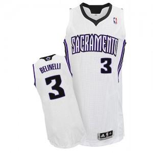 Camiseta NBA Sacramento Kings Marco Belinelli #3 Home Adidas Blanco Authentic - Hombre
