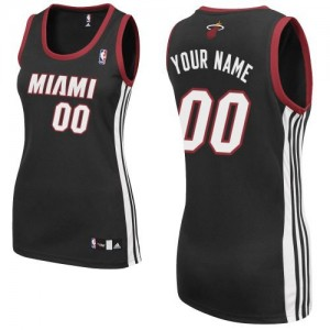 Camiseta Authentic Personalizadas Miami Heat Road Negro - Mujer