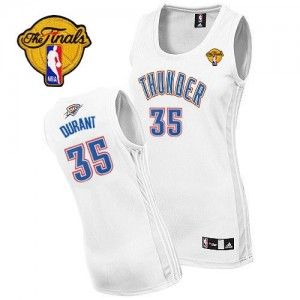 Oklahoma City Thunder Adidas Home Finals Patch Blanco Authentic Camiseta de la NBA - Kevin Durant #35 - Mujer