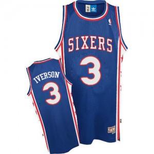 Camiseta NBA Throwack Philadelphia 76ers Azul Authentic - Hombre - #3 Allen Iverson
