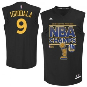 Camiseta NBA 2015 NBA Finals Champions Golden State Warriors Negro Authentic - Hombre - #9 Andre Iguodala
