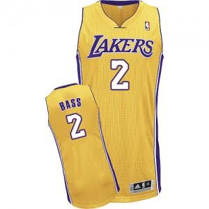 Los Angeles Lakers Adidas Home Oro Authentic Camiseta de la NBA - Brandon Bass #2 - Hombre