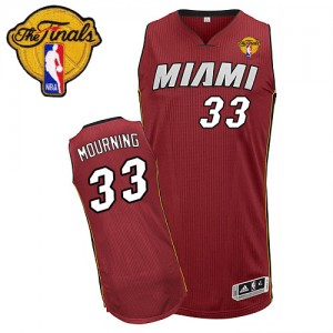 Hombre Camiseta Alonzo Mourning #33 Miami Heat Adidas Alternate Finals Patch Rojo Swingman