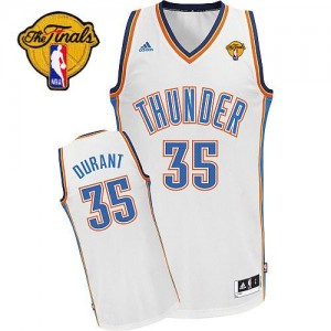 Hombre Camiseta Kevin Durant #35 Oklahoma City Thunder Adidas Home Finals Patch Blanco Swingman