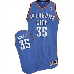 Camiseta NBA Oklahoma City Thunder Kevin Durant #35 Road Adidas Azul real Authentic - Hombre