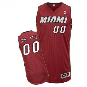 Camiseta Authentic Personalizadas Miami Heat Alternate Rojo - Hombre