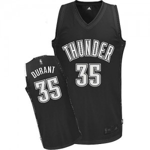 Camiseta Authentic Kevin Durant #35 Oklahoma City Thunder Blanco negro - Hombre