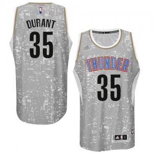 Camiseta NBA Oklahoma City Thunder Kevin Durant #35 City Light Adidas Gris Authentic - Hombre