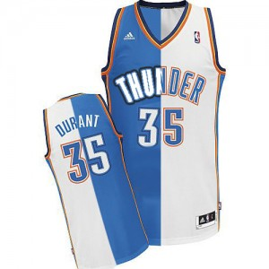 Hombre Camiseta Kevin Durant #35 Oklahoma City Thunder Adidas Split Fashion Azul blanco Swingman
