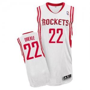 Camiseta Authentic Clyde Drexler #22 Houston Rockets Home Blanco - Hombre