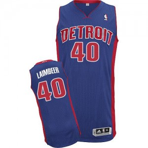 Hombre Camiseta Bill Laimbeer #40 Detroit Pistons Adidas Road Azul real Authentic