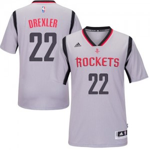 Camiseta Swingman Clyde Drexler #22 Houston Rockets Alternate Gris - Hombre