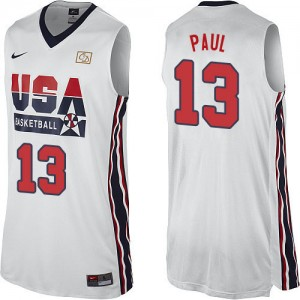 Hombre Camiseta Chris Paul #13 Team USA Nike 2012 Olympic Retro Blanco Authentic