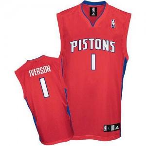 Camiseta NBA Detroit Pistons Allen Iverson #1 Adidas Rojo Authentic - Hombre