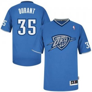 Camiseta Authentic Kevin Durant #35 Oklahoma City Thunder 2013 Christmas Day Azul - Hombre