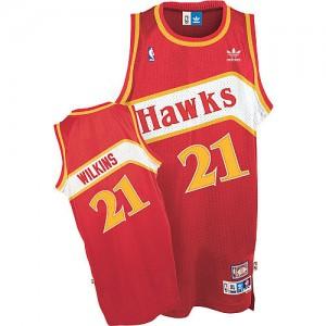 Camiseta NBA Throwback Atlanta Hawks Rojo Authentic - Hombre - #21 Dominique Wilkins