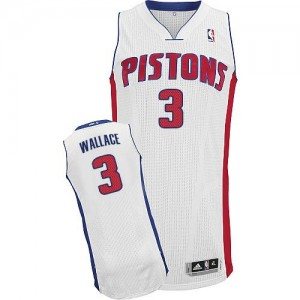 Hombre Camiseta Ben Wallace #3 Detroit Pistons Adidas Home Blanco Authentic