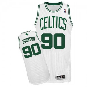 Camiseta Authentic Amir Johnson #90 Boston Celtics Home Blanco - Hombre