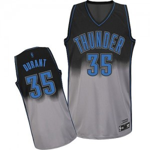 Camiseta Authentic Kevin Durant #35 Oklahoma City Thunder Fadeaway Fashion Gris oscuro - Hombre
