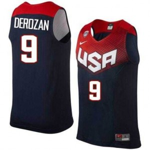 2014 Team USA Stitched Azul oscuro Camiseta de la NBA - DeMar DeRozan #9