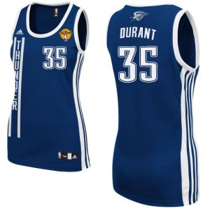 Oklahoma City Thunder Adidas Alternate Finals Patch Azul marino Swingman Camiseta de la NBA - Kevin Durant #35 - Mujer