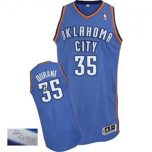 Camiseta NBA Oklahoma City Thunder Kevin Durant #35 Road Autographed Adidas Azul real Authentic - Hombre