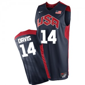 Hombre Camiseta Anthony Davis #14 Team USA Nike 2012 Olympics Azul marino Authentic