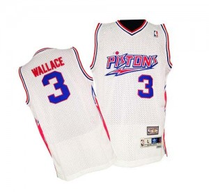 Hombre Camiseta Ben Wallace #3 Detroit Pistons Adidas Throwback Blanco Authentic