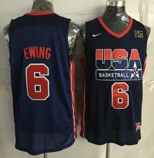 Camiseta Patrick Ewing #6 Team USA Stitched Azul oscuro Retro