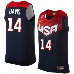 Camiseta Anthony Davis #14 Stitched Azul oscuro - 2014 Team USA