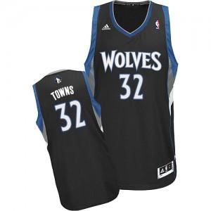 Minnesota Timberwolves Adidas Alternate Negro Swingman Camiseta de la NBA - Karl-Anthony Towns #32 - Hombre