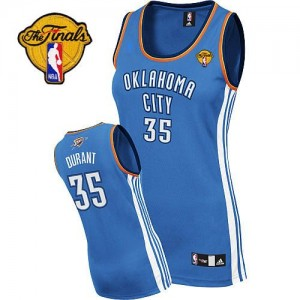 Oklahoma City Thunder Adidas Road Finals Patch Azul real Authentic Camiseta de la NBA - Kevin Durant #35 - Mujer