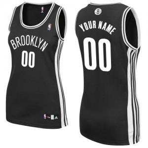 Brooklyn Nets Adidas Road Negro Camiseta de la NBA - Authentic Personalizadas - Mujer