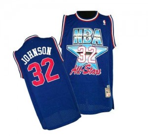 Camiseta NBA 1992 All Star Throwback Los Angeles Lakers Azul Authentic - Hombre - #32 Magic Johnson
