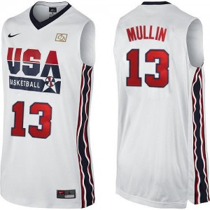 Hombre Camiseta Chris Mullin #13 Team USA Nike 2012 Olympic Retro Blanco Authentic