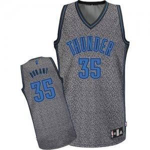 Camiseta NBA Oklahoma City Thunder Kevin Durant #35 Static Fashion Adidas Gris Authentic - Hombre