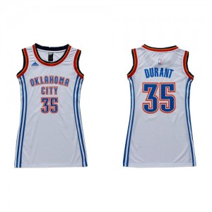 Oklahoma City Thunder Adidas Dress Blanco Authentic Camiseta de la NBA - Kevin Durant #35 - Mujer