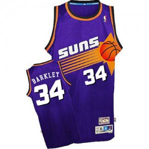 Camiseta NBA Phoenix Suns Charles Barkley #34 Throwback Mitchell and Ness Púrpura Authentic - Hombre