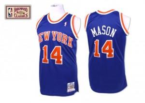 Camiseta NBA New York Knicks Anthony Mason #14 Throwback Mitchell and Ness Azul real Swingman - Hombre