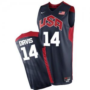 Hombre Camiseta Anthony Davis #14 Team USA Nike 2012 Olympics Azul marino Swingman