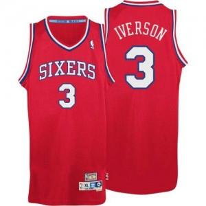 Camiseta NBA Throwack Philadelphia 76ers Rojo Authentic - Hombre - #3 Allen Iverson