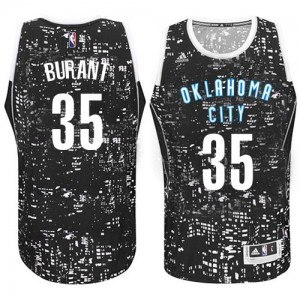 Camiseta NBA Oklahoma City Thunder Kevin Durant #35 City Light Adidas Negro Swingman - Hombre