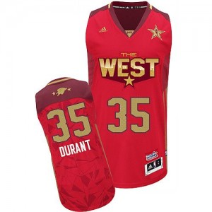 Hombre Camiseta Kevin Durant #35 Oklahoma City Thunder Adidas 2011 All Star Rojo Swingman
