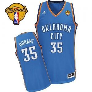 Hombre Camiseta Kevin Durant #35 Oklahoma City Thunder Adidas Road Finals Patch Azul real Swingman