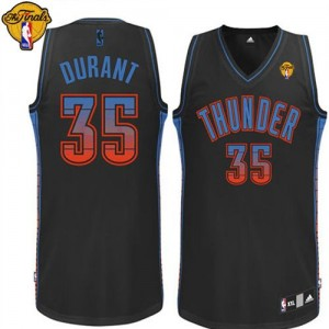 Camisetas Baloncesto Hombre NBA Oklahoma City Thunder Vibe Finals Patch Authentic Kevin Durant #35 Negro