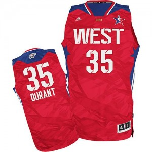 Hombre Camiseta Kevin Durant #35 Oklahoma City Thunder Adidas 2013 All Star Rojo Swingman