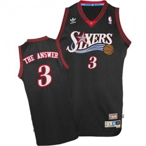 "Camiseta NBA ""The Answer"" Throwback Philadelphia 76ers Negro Authentic - Hombre - #3 Allen Iverson"